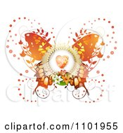 Clipart Orange Butterfly With A Heart Center And Foliage Royalty Free Vector Illustration