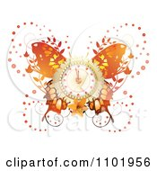 Clipart Orange Butterfly With A Clock Center And Foliage Royalty Free Vector Illustration