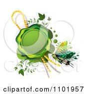 Clipart Green Wax Seal With A Rope Vines And Butterfly Royalty Free Vector Illustration by merlinul