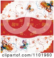 Clipart Spring Butterfly Background With A Red Floral Text Bar Royalty Free Vector Illustration