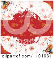 Clipart Spring Butterfly Background With A Grungy Red Floral Text Bar Royalty Free Vector Illustration
