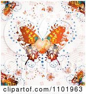 Clipart Ornate Orange Butterfly With A Heart Center Over Clovers And Rays Royalty Free Vector Illustration