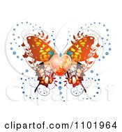 Clipart Ornate Orange Butterfly With A Heart Center Royalty Free Vector Illustration