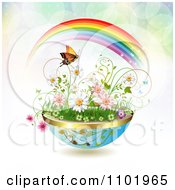 Clipart Planter Of Daisies And Spring Flowers With A Butterfly And Rainbow Over Flares Royalty Free Vector Illustration
