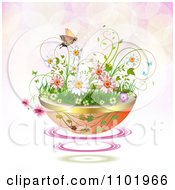 Clipart Planter Of Daisies And Spring Flowers With A Butterfly Over Pink Flares Royalty Free Vector Illustration
