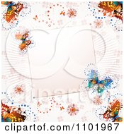 Clipart Pink Butterfly Background With A Blank Note Royalty Free Vector Illustration
