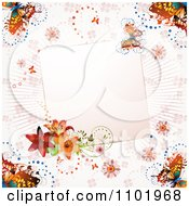 Clipart Pink Butterfly Background With Lilies And A Blank Note Royalty Free Vector Illustration