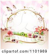 Clipart Blank Banner With A Frame Flowers And Butterflies On Pink Royalty Free Vector Illustration