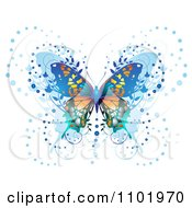 Clipart Ornate Blue Butterfly On White 2 Royalty Free Vector Illustration