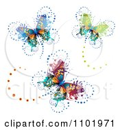 Clipart Three Ornate Butterflies On White Royalty Free Vector Illustration