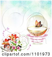 Clipart Butterfly In A Protective Sphere With Flowers On Flares Royalty Free Vector Illustration