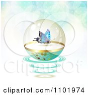 Clipart Butterfly In A Protective Sphere With Flares On Gradient 1 Royalty Free Vector Illustration