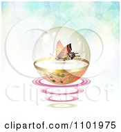 Clipart Butterfly In A Protective Sphere With Flares On Gradient 2 Royalty Free Vector Illustration