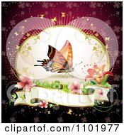 Clipart Butterfly With Flowers And A Blank Banner Royalty Free Vector Illustration