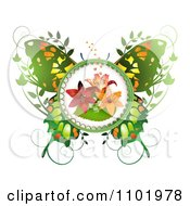Clipart Green Butterfly With A Lily Center And Foliage Royalty Free Vector Illustration