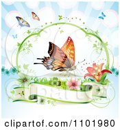 Clipart Orange Butterfly Over A Blank Banner Against Blue Royalty Free Vector Illustration