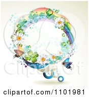 Clipart Round Rainbow Daisy And Shamrock Frame With A Butterfly Royalty Free Vector Illustration