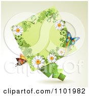 Clipart St Patricks Day Diamond With Shamrocks Daisies And Butterflies Royalty Free Vector Illustration