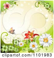 Clipart Orange Butterfly With Clovers And Daisies Around Copyspace 1 Royalty Free Vector Illustration