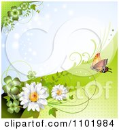 Clipart Orange Butterfly With Clovers And Daisies Around Copyspace 3 Royalty Free Vector Illustration