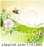 Clipart Orange Butterfly With Clovers And Daisies Around Copyspace 2 Royalty Free Vector Illustration
