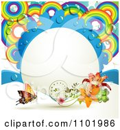 Clipart Rainbow Circle Frame With Lilies And A Butterfly Royalty Free Vector Illustration
