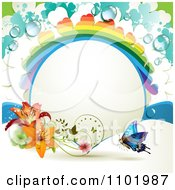 Clipart Rainbow Clover Frame With Lilies And A Butterfly Royalty Free Vector Illustration