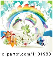 Clipart Blue Butterfly And Dewy Rainbow Clover With Lilies Royalty Free Vector Illustration