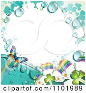 Clipart Butterfly And Dewy Rainbow Clover Background With White Copyspace Royalty Free Vector Illustration