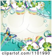 Clipart Butterfly And Dewy Rainbow Clover Background Royalty Free Vector Illustration