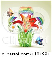 Clipart Lily Rainbow Shamrock Plant With Butterflies On Beige Royalty Free Vector Illustration