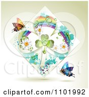 Clipart Rainbow Clover Shamrock Diamond With Butterflies On Beige Royalty Free Vector Illustration