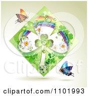 Clipart Green Rainbow Clover Shamrock Diamond With Butterflies On Beige Royalty Free Vector Illustration