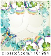 Clipart Butterfly And Dewy Rainbow Clover Background With Off White Copyspace Royalty Free Vector Illustration