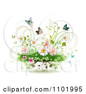 Clipart Spring Flowers Vines And Butterflies On White Royalty Free Vector Illustration
