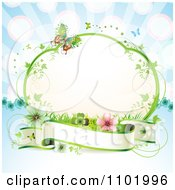 Clipart Blank Banner Under A Vine Frame With Butterflies And Flowers On Blue Royalty Free Vector Illustration