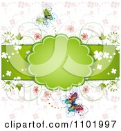 Clipart Spring Butterfly Background With A Green Frame And Flowers Royalty Free Vector Illustration by merlinul