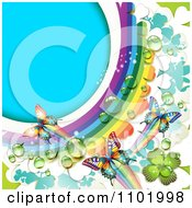 Clipart Spring Butterfly Background With A Dewy Rainbow And Clovers Royalty Free Vector Illustration