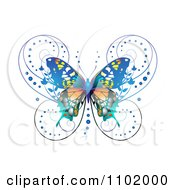 Clipart Ornate Blue Butterfly On White 1 Royalty Free Vector Illustration
