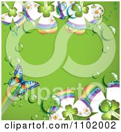 Clipart Butterfly And Dewy Clover Background With Green Copyspace Royalty Free Vector Illustration