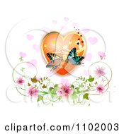 Kissing Butterflies Over A Floral Heart With Blossoms