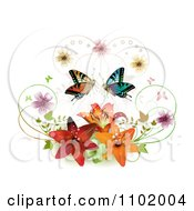 Clipart Butterfly Pair With Blossoms And Lilies On White Royalty Free Vector Illustration