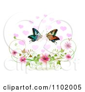 Butterfly Pair With Hearts Over Blossoms On White