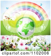Clipart 3d Green Globe With Paw Print Sound Waves Under A Rainbow With Flowers Royalty Free Vector Illustration