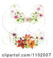 Clipart Cherry Blossom And Lily Butterfly Rule Dividers Royalty Free Vector Illustration