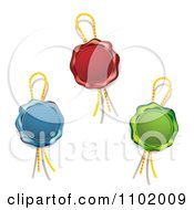 Clipart Blue Red And Green Wax Seals With Ropes Royalty Free Vector Illustration by merlinul