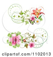 Clipart Blossom Ladybug And Lily Design Elements Royalty Free Vector Illustration by merlinul