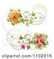 Clipart Red And Orange Lily And Ladybug Design Elements Royalty Free Vector Illustration