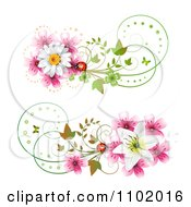 Clipart Pink And White Daisy Ladybug And Lily Design Elements Royalty Free Vector Illustration