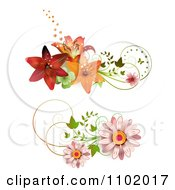 Clipart Daisy And Lily Design Elements Royalty Free Vector Illustration